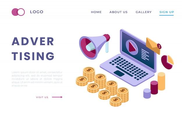 Ilustração de anúncios através de vídeo online e mídias sociais com o conceito de páginas de destino isométricas e cabeçalhos da web