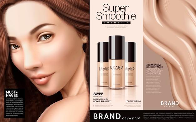 Ilustração de anúncios cosméticos de base