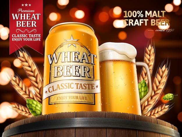 Ilustração de anúncios de cerveja de trigo