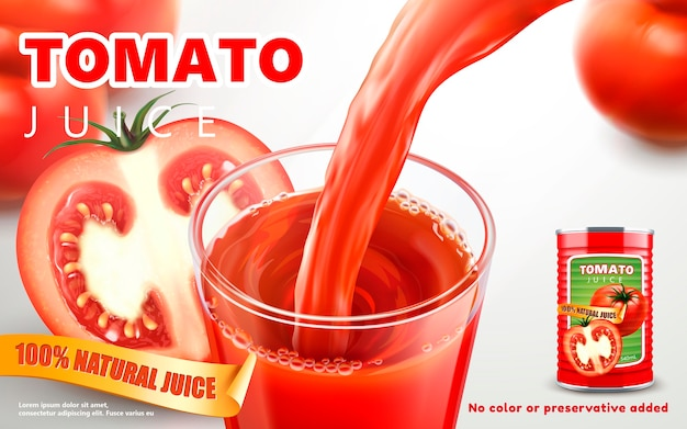 Ilustração de anúncios de suco de tomate