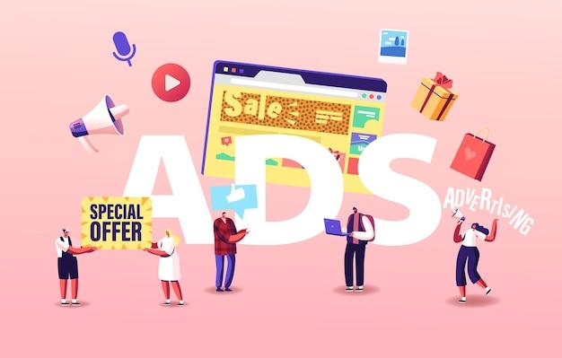 Ilustração de anúncios. publicidade de personagens de promotores, relações públicas e assuntos online