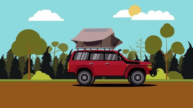 Ilustração, de, apartamento, design, vermelho, fora, estrada, veículo, carro, acampamento, com, telhado, topo, barraca, com, cena natureza