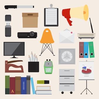 Ilustração, de, apartamento, ícones, escritório, negócio, cobrança, jogo