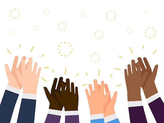 Ilustração de aplausos. mãos de pessoas internacionais batendo palmas conceito