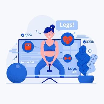 Ilustração de aplicativo de ginásio virtual
