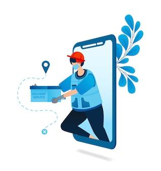 Ilustração de aplicativo de serviço de entrega com protocolo de saúde.