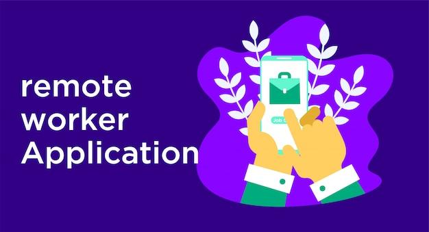 Ilustração de aplicativo de trabalhador remoto