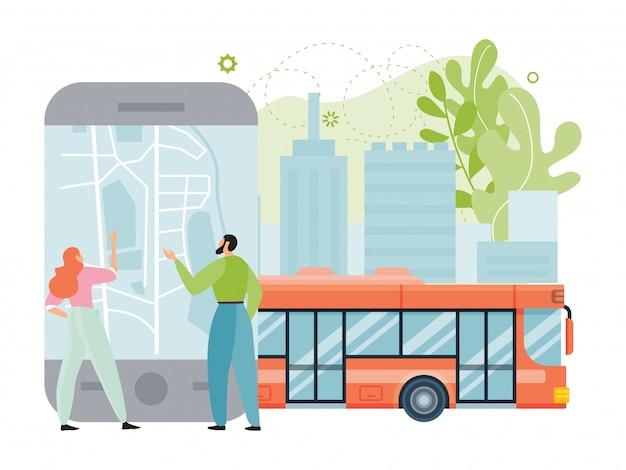 Ilustração de aplicativo de transporte público da cidade, pessoas de pequeno casal plana dos desenhos animados usando smartphone com mapa da cidade para navegação, passeio de ônibus