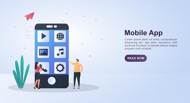 Ilustração de aplicativo móvel com pessoas que escolhem um aplicativo para usar.