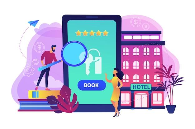 Ilustração de aplicativo móvel de reserva de acomodação