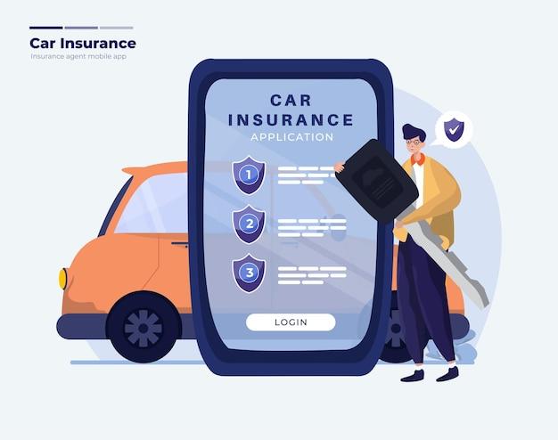 Ilustração de aplicativo móvel de seguro de carro