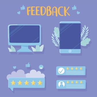 Ilustração de aplicativos de avaliação e feedback de smartphone para computador