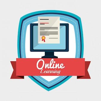 Ilustração de aprendizagem on-line