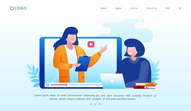 Ilustração de aprendizagem online para modelo de site de página de destino