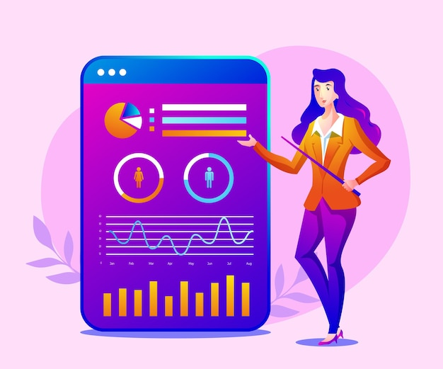 Ilustração de apresentação de analista de dados digitais