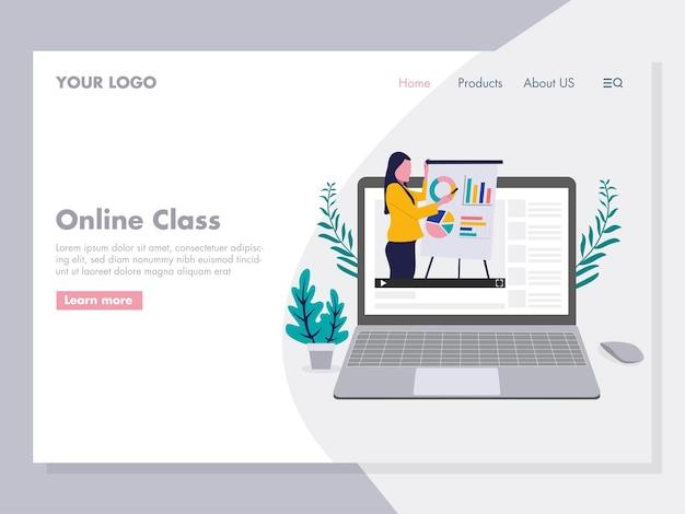 Ilustração de apresentação de aula on-line para a página de destino