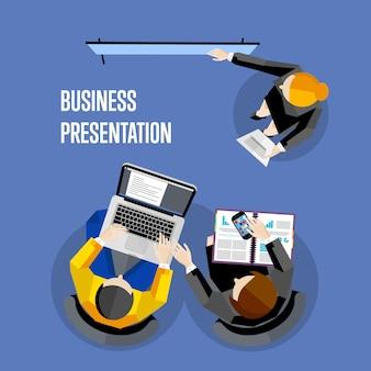Ilustração de apresentação de negócios vista superior.