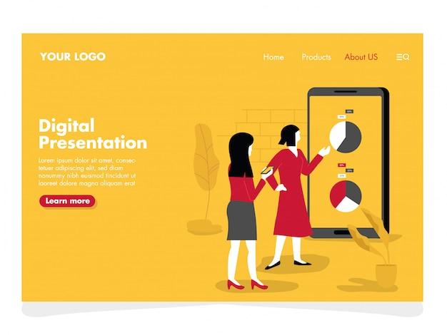Ilustração de apresentação digital para a página de destino