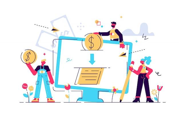 Ilustração de aprovação de crédito ou conclusão de contrato on-line