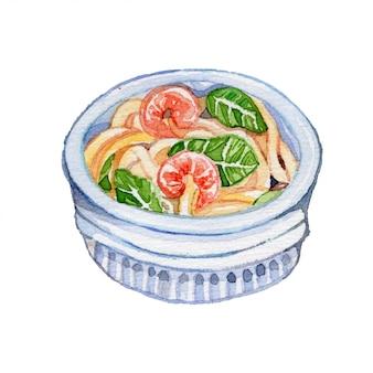 Ilustração de aquarela de camarão macarrão
