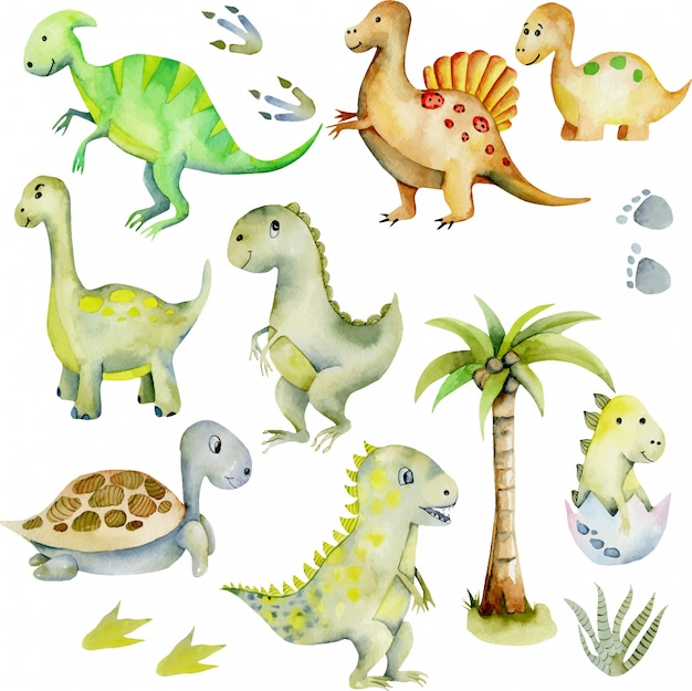 Ilustração de aquarela de coleção de dinossauros fofos