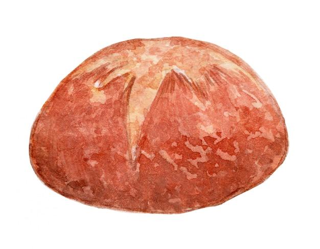 Ilustração de aquarela de pão de fermento