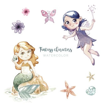 Ilustração de aquarela de personagens de fantasia
