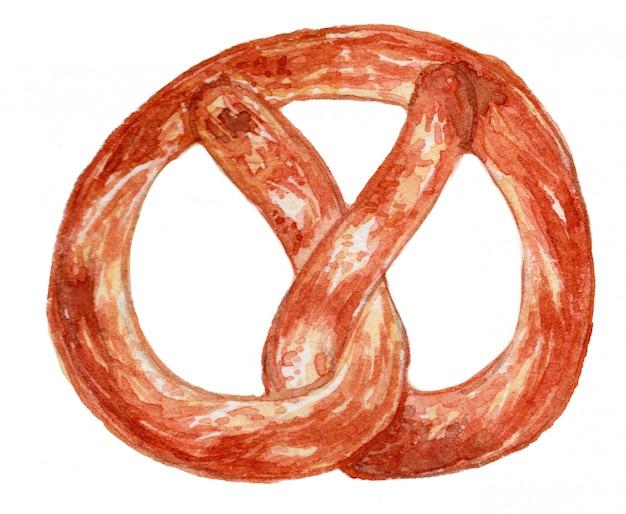 Ilustração de aquarela de pretzel