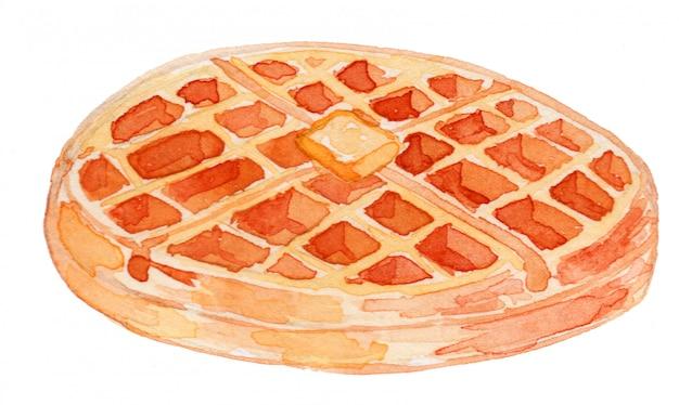 Ilustração de aquarela de waffle