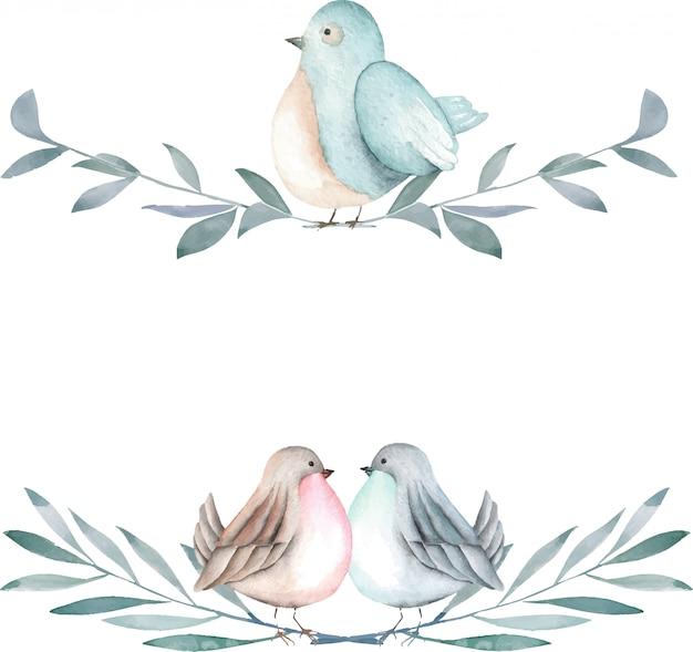 Ilustração de aquarela pássaros bonitos nos galhos