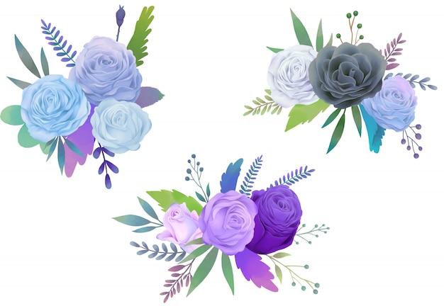 Ilustração de aquarela rosa azul