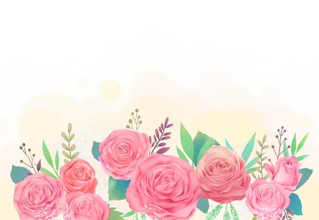 Ilustração de aquarela rosa e gypsophila
