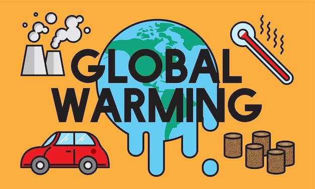 Ilustração, de, aquecimento global, conceito