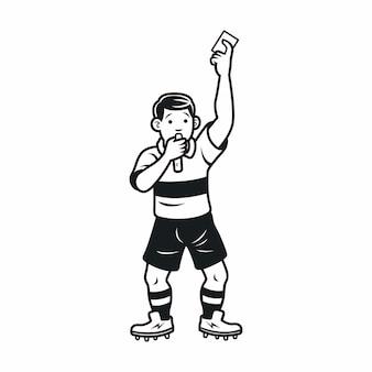 Ilustração de árbitros de futebol dos desenhos animados segurando o cartão vermelho e amarelo