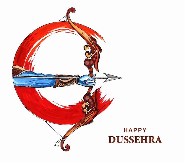 Ilustração de arco e flecha no festival happy dussehra da índia