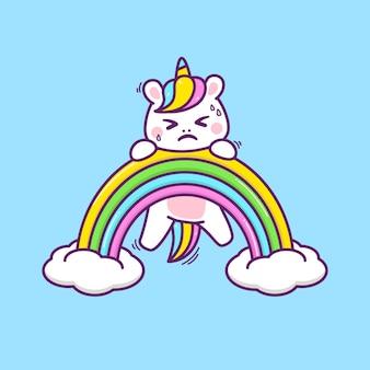 Ilustração de arco-íris escalando unicórnio fofo