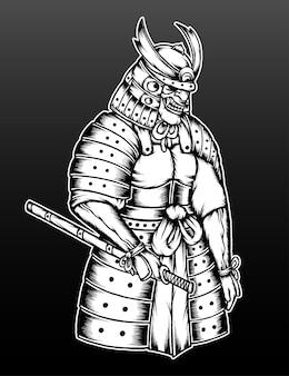 Ilustração de armadura de samurai cinza monocromática.