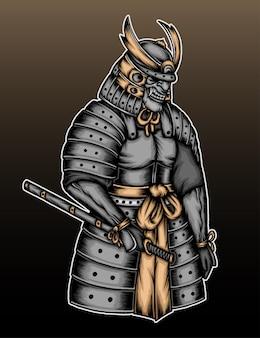 Ilustração de armadura de samurai cinza.