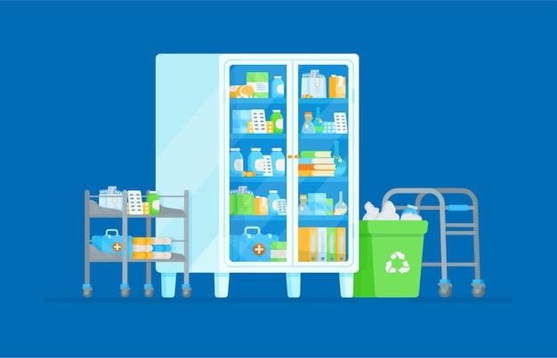 Ilustração de armário de remédios