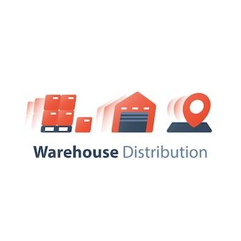 Ilustração de armazém e distribuição