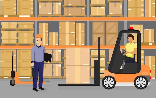 Ilustração de armazenamento, mercadorias e caixas nas prateleiras do armazém e equipe de trabalhadores, transporte e conceito de logística em estilo cartoon plana.