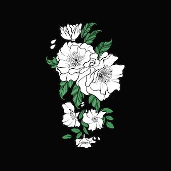 Ilustração de arranjo de flor rosa branca