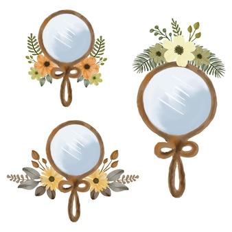 Ilustração de arranjo de flores e espelho em aquarela