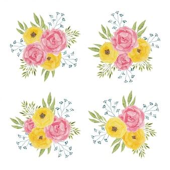 Ilustração de arranjo de flores em aquarela peônia