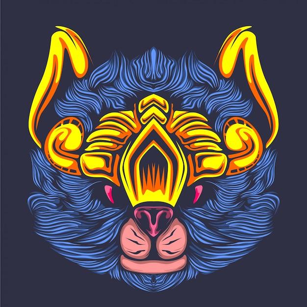 Ilustração de arte azul brilhante peludo gato