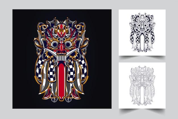Ilustração de arte balinesa da cultura meca