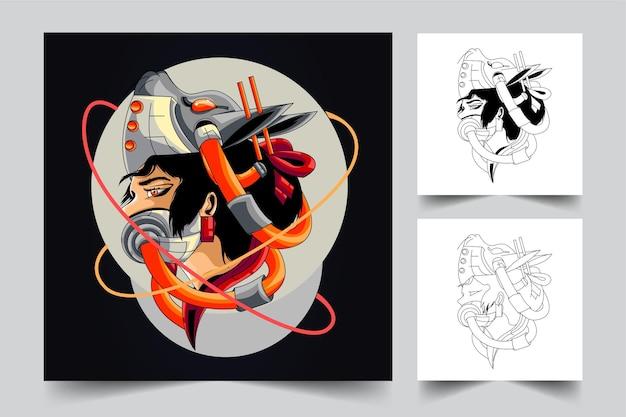Ilustração de arte cibernética de gueixa