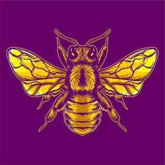 Ilustração de arte de abelha amarela isolada
