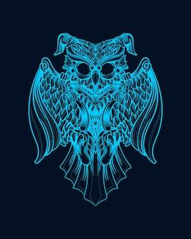 Ilustração de arte de coruja