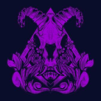 Ilustração de arte de crânio de cabra